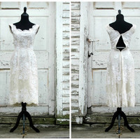 ULTRA RARE Ceil Chapman Hollywood Dress/ Short Bridal Wedding Dress/ White Ivory/ Lace Beads/ 50s Cocktail Wiggle Bombshell/ Vintage 1950s