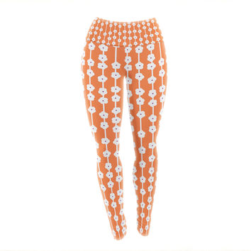 "Heidi Jennings ""Orange You Cute"" Tangerine White Yoga Leggings"