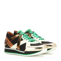 London leather and fabric sneakers