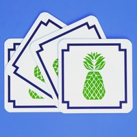 Blush Label Pineapple Coasters - Green & Navy