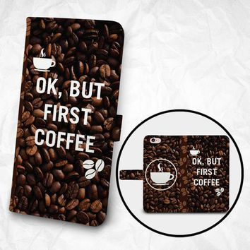 iPhone 7 iPhone 6 6S Plus case Samsung Galaxy S6 case Edge case Note 5 4 3 2 PU leather flip cover Book Phone case Wallet case Coffee Beans