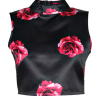 Han Rox Print Satin High Neck Crop Top