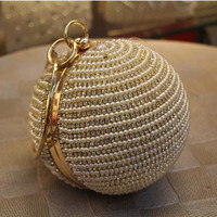 Free Shipping Women's Pearl Boll Evening Bag Round Ball Pearl Beaded Clutch Purse Mini Handbags Full Pearl Wedding Party Bags