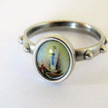 Vintage French, Rosary Ring, Virgin Mary, SHIPPING INCLUDED