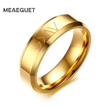 Meaeguet God Is Greater Than The Highs And The Lows Ring Men's Personalized Stainless Steel Wedding Bands Jewelry