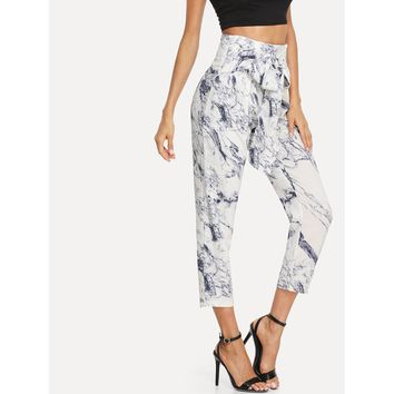 Ink Painting Print Knotted Pants