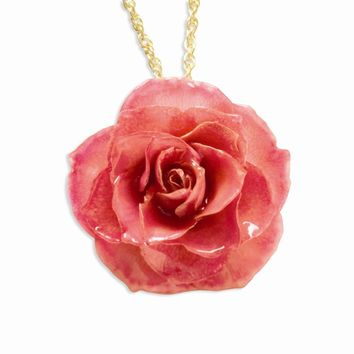 20 Inch Lacquer Dipped Pink Rose w/ Gold-plated Chain