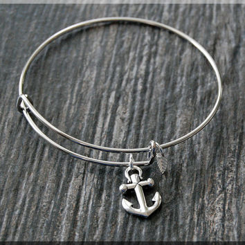 Silver Anchor Charm Expandable Bangle Bracelet, Adjustable Bangle Bracelet, Stacking Charm Bracelet, Nautical Bangle, Anchor Charm Bracelet