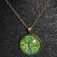 3-D Circular Green Tree Pendant Necklace