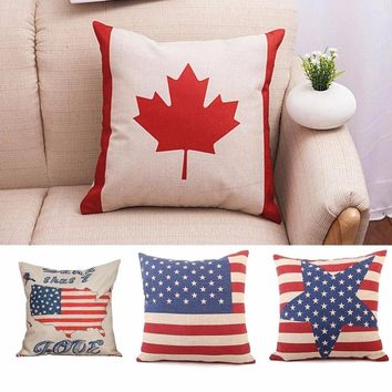 New Arrival Cotton Cushion Cover Luxurious American Flag Map Leaf Tower Start Pillowcase Decorative Pillows Home Pillow Covers