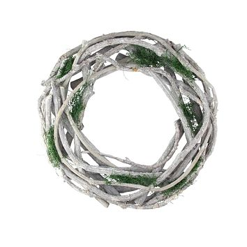"14"" White Twig and Green Moss Artificial Spring Wreath"