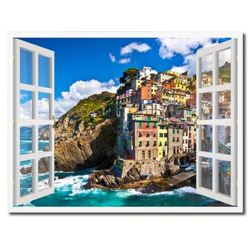 Fisherman Village Riomaggiore Picture French Window Framed Canvas Print Home Decor Wall Art Collection