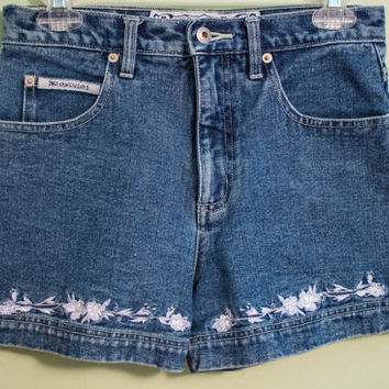 SALE 90's No Excuses Floral Detailed High Waisted Shorts