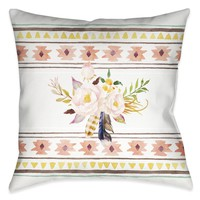 Tribal Flower Pattern II Indoor Decorative Pillow