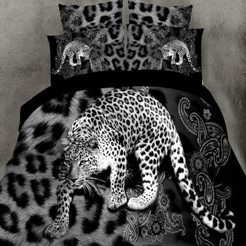 4pcs 3D bed set Home textile Bedding sets animal Soft cotton Leopard wolf tiger lion Duvet cover Bed sheet pillowcase bed linen