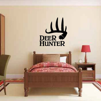 Deer Hunter with Antlers Vinyl Wall Words Decal Sticker