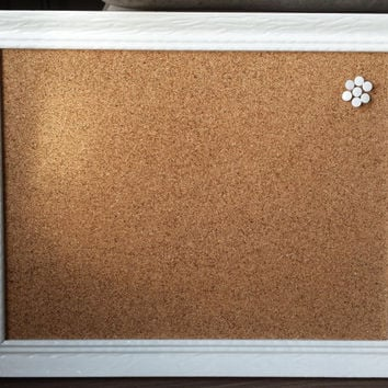 Vintage Framed Cork Board with Ten Pins / Wedding Decor / Office Decor / Valentine's Day Gift