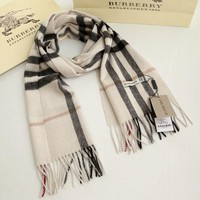 BURBERRY 100% CASHMERE AUTHENTIC SCARF BEIGE WITH TAG BRAND NEW