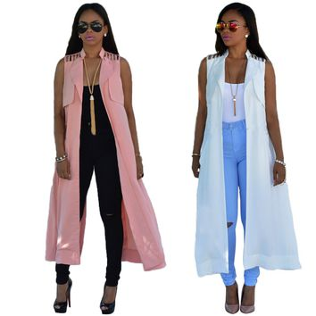 European and American Style Fashion Sexy Slim Hot Summer Jacket Girls Long Coat
