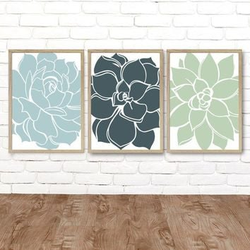 FLOWER Succulent Wall Art, Teal Green Blue Bedroom Wall Decor Canvas or Prints Teal Bathroom Decor, Flower Succulent Home Decor, Set of 3