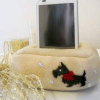 Plush Cell Phone, iPhone Holder Pouch Stand- Scottie Dog