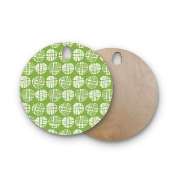 "Gill Eggleston ""Sketched Pods Green"" Green White Abstract Modern Digital Vector Round Wooden Cutting Board"