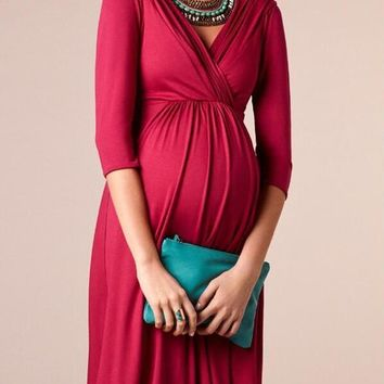 New Burgundy Pleated Deep V-neck 3/4 Sleeve Maternity Pregnant Banquet Prom Party Midi Dress
