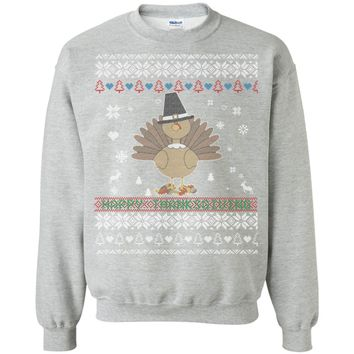 Happy Thanksgiving Turkey Ugly Christmas Sweater Style G180 Gildan Crewneck Pullover Sweatshirt  8 oz.