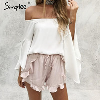 Women Sexy High Waist Ruffle Shorts with Drawstring