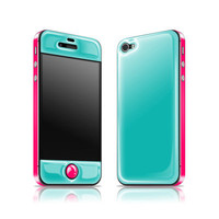 Teal + Neon Pink Glow Gel iPhone 4/4s Skin
