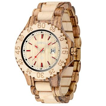MEKU Women's Wooden Wrist Watch Handmade Mens Wood Watch with Date Valentine Gift