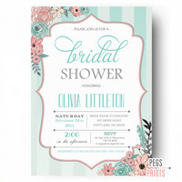 Shabby Chic Bridal Shower Invitation - Floral Bridal Shower Invites - Floral Bridal Shower Invitation - Bridal Shower Invites PRINTABLE