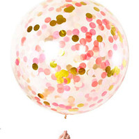 Giant Balloon with 500 choose your colors and metallic gold and silver confetti inside