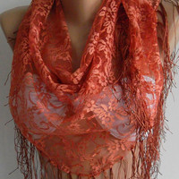 Copper Color - lace and Elegance Shawl / Scarf - with Lace Edge,