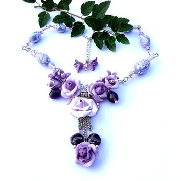 Elegant and lovely polymer clay necklace  light lilac color.