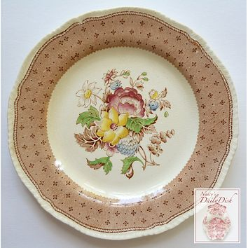 Vintage Brown Transferware Dinner Plate  w/ Hand Painted Floral Bouquet Ridgway
