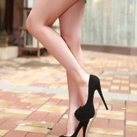 Sexy Black PU Upper Stiletto Heels Closed-toe  Women's Shoes: tidestore.com