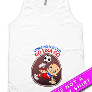 Soccer Pregnancy Announcement Sports Themed Baby Shower Gifts For Soccer Fan Cheering For Two Team USA Soccer Unisex Tank Top MAT-686