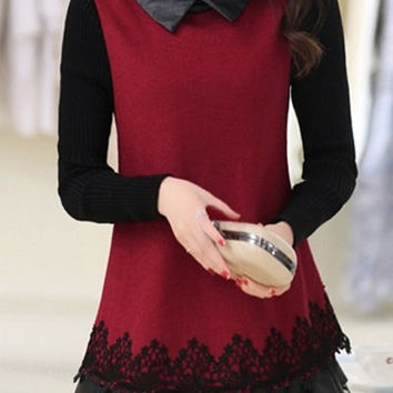 Red Knitted Blouse