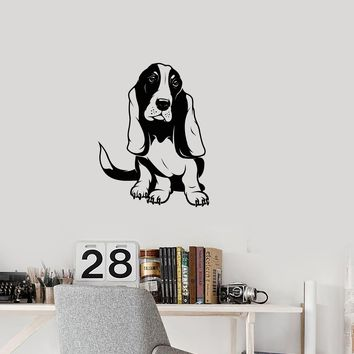 Vinyl Decal Wall Sticker Dog Basset hound Decor for Kids Puppy Animals Unique Gift (g019)