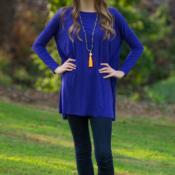 The Perfect Piko Tunic Top-Indigo