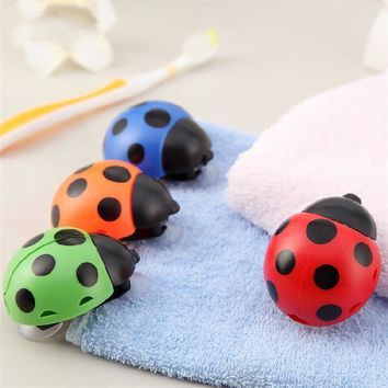 Novelty Bathroom Set Sanitary Kids Ladybug Wall Mounted Toothbrush Holder Cartoon Animal Brush Holder With Suction Cup