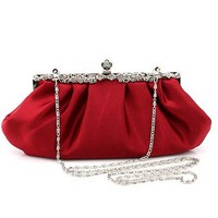 Top Selling Burgundy Totes Party Evening Bag Women Satin Polyester Wallet Style Chain Handbag Clutch Banquet Mini Bag 73998