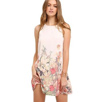 Multicolor Sleeveless Flower Print Boho Dresses Round Neck Cut Out Shift  Dress