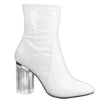 Cameron3 White Patent sleek ankle bootie latex patent Perspex glass block heel w pointed toe