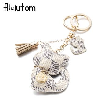 ALIUTOM High Quality Cute PU Cat KeyChain With Tassel