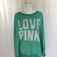 Victoria's Secret Love Pink Sweatshirt - Size Large Seafoam Green