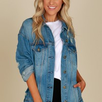 Distressed Denim Jacket Medium