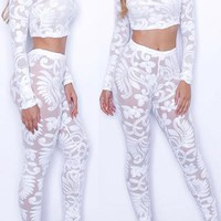 Sexy high collar long sleeve see through White bud silk two piece pants set