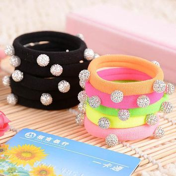 10pcs/lot Candy Color Silver Crystal Balls Quality Black Elastic Ponytail Holders Hair Accessories Girl Women Rubber Band Mixed